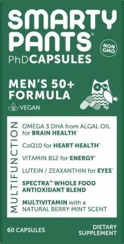 SmartyPants PhD Men's 50+ Formula Multifunction Vegan Capsules Perspective: front