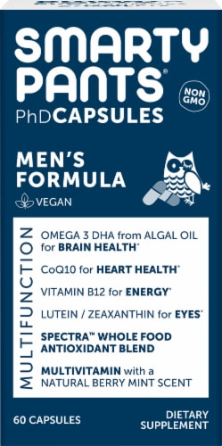 Smarty Pants PhD Men's Formula Multifunction Vegan Capsules Perspective: front
