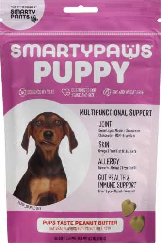 SmartyPants SmartyPaws Puppy Peanut Butter Flavor Treats 60 Count Perspective: front