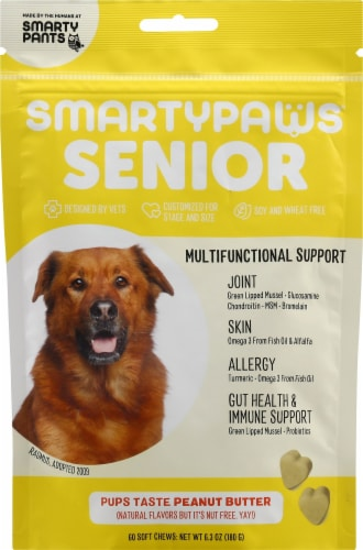 SmartyPants SmartyPaws Senior Multifunctional Support Peanut Butter Treats 60 Count Perspective: front