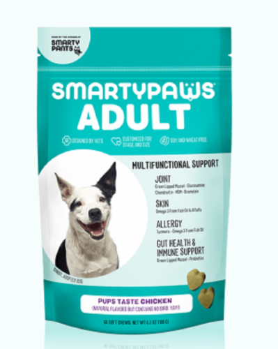 SmartyPants SmartyPaws Adult Multifunctional Support Chicken Flavor Treats Perspective: front