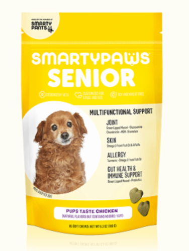 SmartyPants SmartyPaws® Senior Multifunctional Support Chicken Flavor Dog Treats Perspective: front