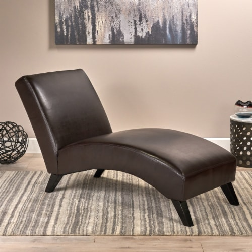 Cleveland Brown Leather Chaise Lounge Chair Perspective: front