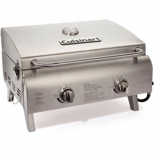 Cuisinart Stainless Steel Chef's Style Tabletop Gas Grill Perspective: front