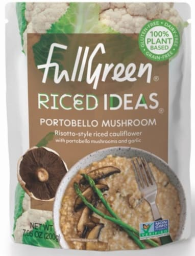 Full Green Riced Ideas Portobello Mushroom Risotto-Style Riced Cauliflower Perspective: front