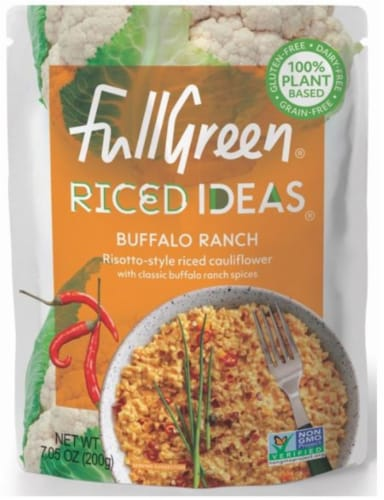Full Green Riced Ideas Buffalo Ranch Risotto-Style Riced Cauliflower Perspective: front