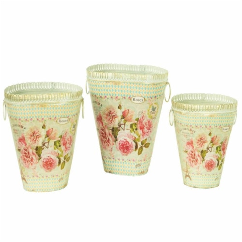 Dolce Mela French Country Planters Vintage Metal Decorative Vases & Flower Pots Perspective: front