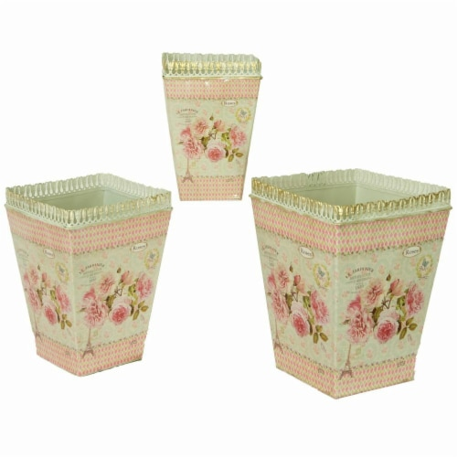 Dolce Mela French Country Planters Square Vintage Metal Decorative Vases & Flower Pots Perspective: front