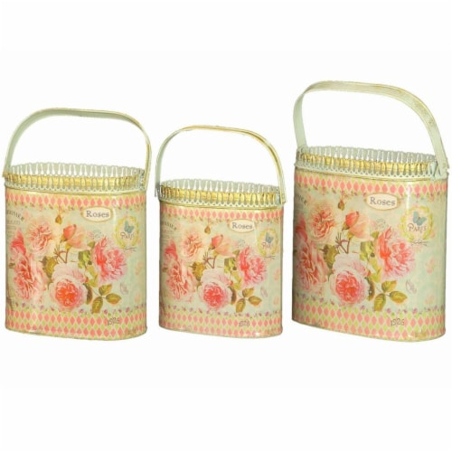 Dolce Mela French Country Planters Vintage Metal Decorative Containers & Flower Pots Perspective: front