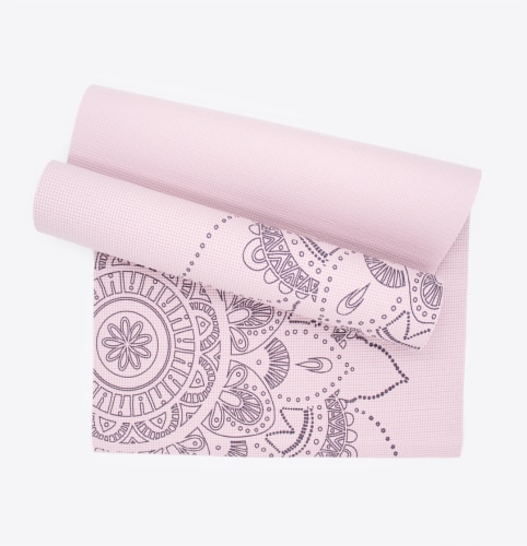 Oak and Reed Extra-Thick Non-Slip Yoga Mat, Lavender Floral Medallion Perspective: front