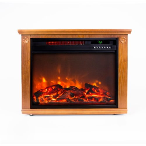 Lifesmart Square Fireplace Heater - Medium Oak Perspective: front