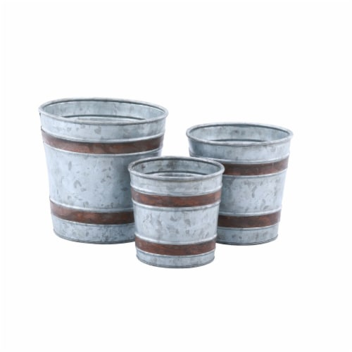 Benzara Vintage Galvanized Metal Bucket Pots - Gray/Brown Perspective: front