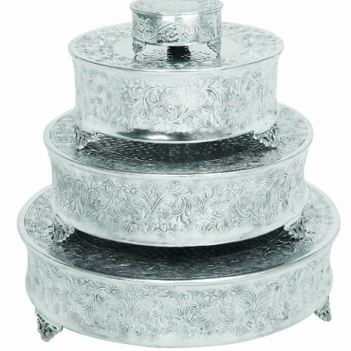 Benzara BM00213 Aluminum Cake Stand for Stylish Host, Polished Silver & Gray - Set of 4 Perspective: front