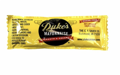 Dukes Mayonnaise Packets 50 Pack. Sugar-Free, Gluten-Free Individual Servings of Real Mayo. Perspective: front