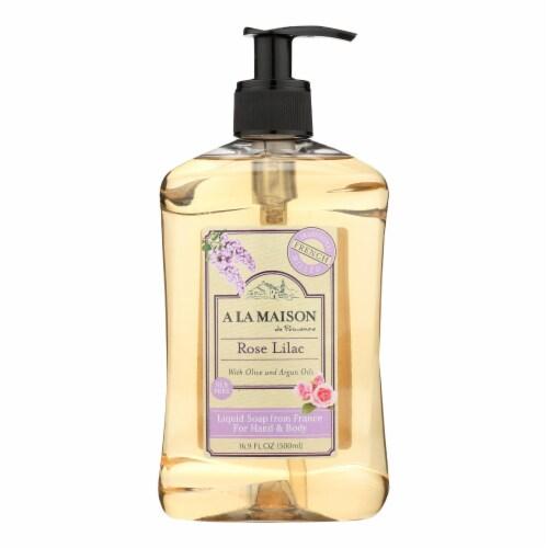 A La Maison - Liquid Hand Soap - Rose Lilac - 16.9 fl oz. Perspective: front