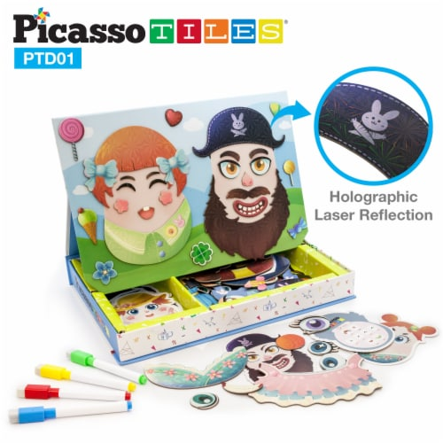 PicassoTiles 102 Piece Magnetic Puzzle Faceboard Game Board Activity Book PTD01 Perspective: front