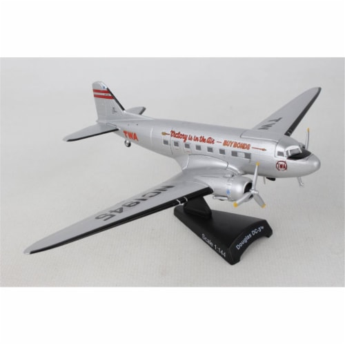 Postage Stamp Planes PS5559-4 1 by 144 Scale TWA DC-3 Model Airplane Perspective: front