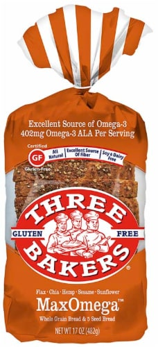 Three Bakers Max Omega Whole Grain Bread Perspective: front