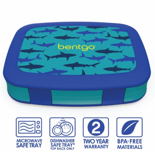 Bentgo Kids Durable & Leak Proof Shark Children's Lunch Box - Blue Perspective: front