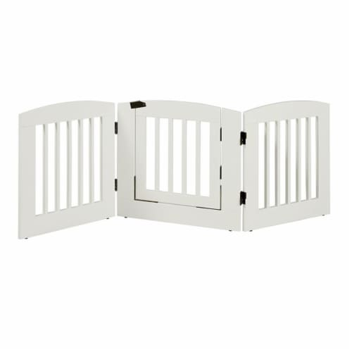 EF Furniture 392403 24 in. Ruffluv 3 Panel Expansion Pet Gate with Door  Medium - White Perspective: front
