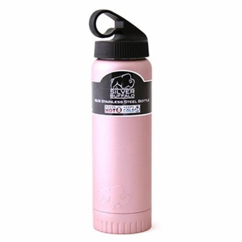 Silver Buffalo 230876 20 oz Double Wall Stainless Steel Water Bottle - Pink Perspective: front