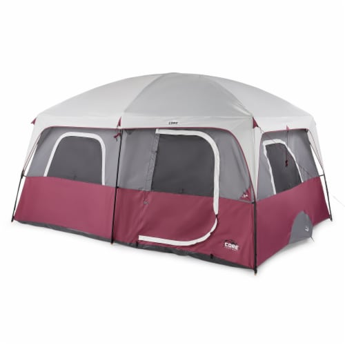 CORE Straight Wall 14 x 10 Foot 10 Person Cabin Tent with 2 Rooms & Rainfly, Red Perspective: front