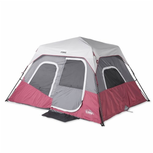CORE Instant Cabin 11 x 9 Foot 6 Person Cabin Tent with Air Vents and Loft, Red Perspective: front