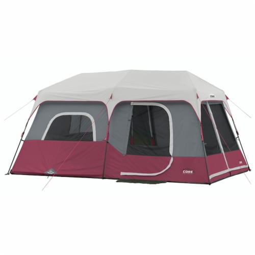 CORE Instant Cabin 14 x 9 Foot 9 Person Cabin Tent with 60 Second Assembly, Red Perspective: front