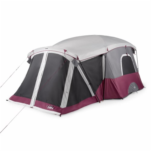 CORE 40072 11 Person Family Outdoor Camping Cabin Tent with Screen Room, Red Perspective: front