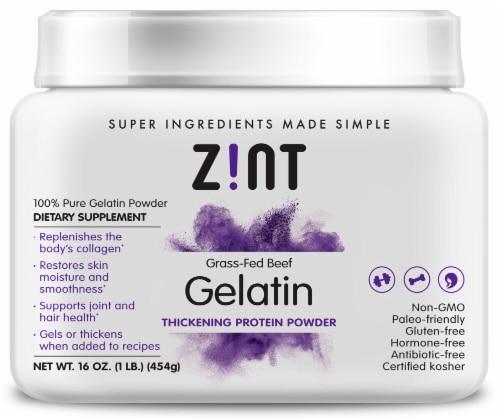 Zint  Grass-Fed Beef Gelatin Thickening Protein Powder Perspective: front