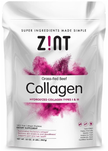 Zint  Grass-Fed Beef Hydrolyzed Collagen Types 1 & 2 Perspective: front