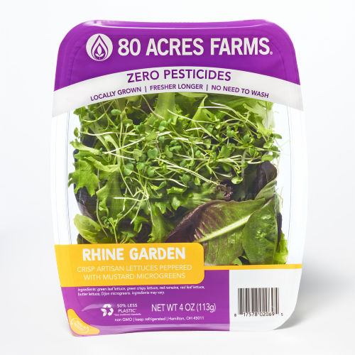 80 Acres Farms RHINE Salad Blend Mix with Microgreens Perspective: front