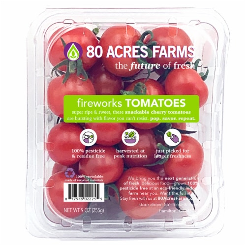 80 Acres Farms Fireworks Cherry Snacking TOMATOES Perspective: front