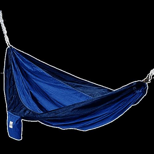 Dark Blue And Light Blue Hammaka Parachute Silk Hammock Perspective: front