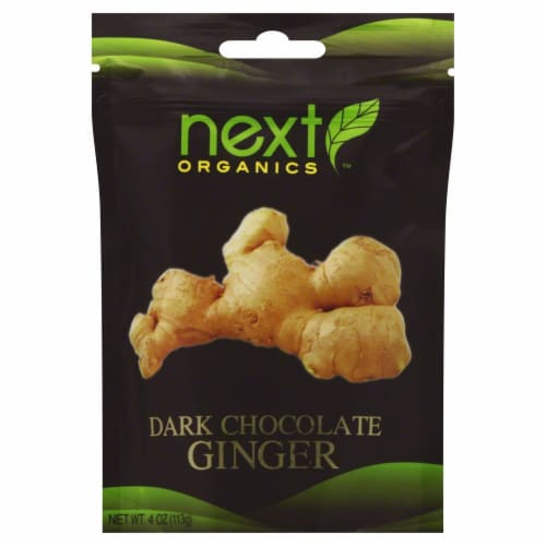 Next Organics Dark Chocolate Covered Ginger Perspective: front