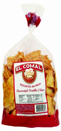 El Comal Totopos De Maiz Homestyle Tortilla Chips Perspective: front