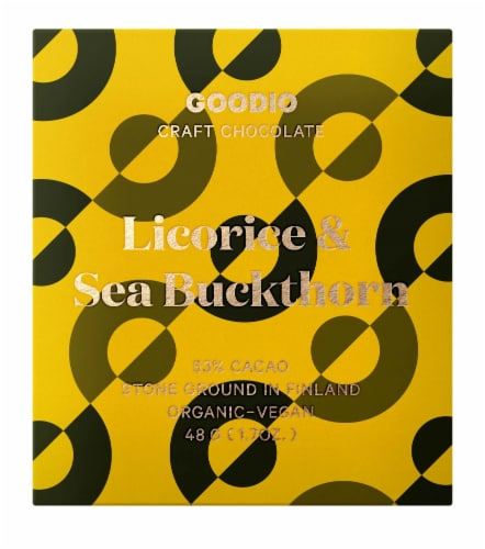 Goodio Licorice & Sea Buckthorn 53% Chocolate Bar Perspective: front