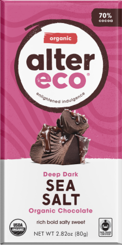 Alter Eco Organic Deep Dark Sea Salt Chocolate Bar Perspective: front
