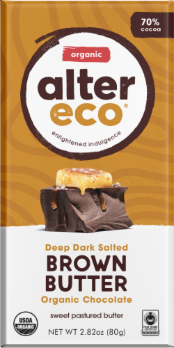 Alter Eco Organic Dark Salted Brown Butter Chocolate Bar Perspective: front