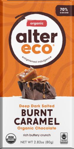 Alter Eco Organic Deep Dark Salted Burnt Caramel Chocolate Bar Perspective: front