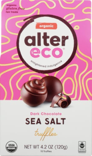 Alter Eco Organic Dark Chocolate Sea Salt Truffles Perspective: front