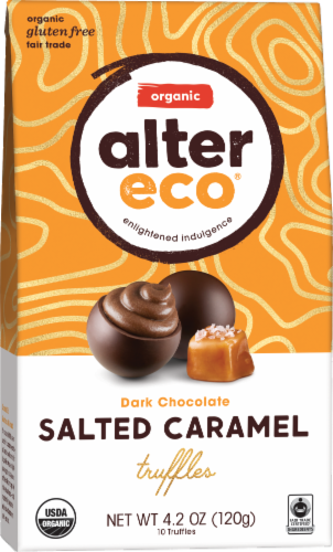 Alter Eco Organic Dark Chocolate Salted Caramel Truffles Perspective: front