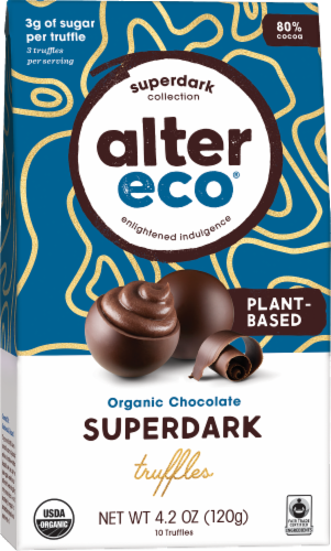 Alter Eco Plant-Based Superdark Organic Chocolate Truffles Perspective: front