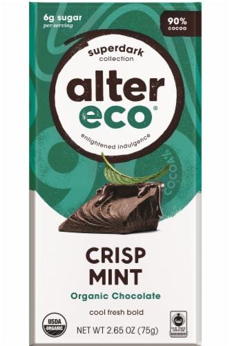 Alter Eco Crisp Mint Superdark Organic Chocolate Bar Perspective: front