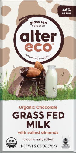 Alter Eco Organic Grass Fed Milk Chocolate & Salted Almonds Chocolate Bar Perspective: front