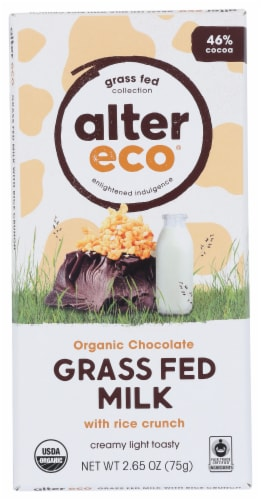 Alter Eco Organic Grass Fed Milk Chocolate with Rice Crunch Perspective: front
