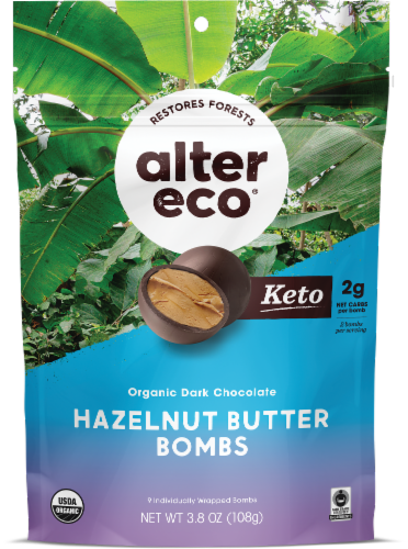 Alter Eco® Organic Dark Chocolate Hazelnut Butter Bombs Perspective: front