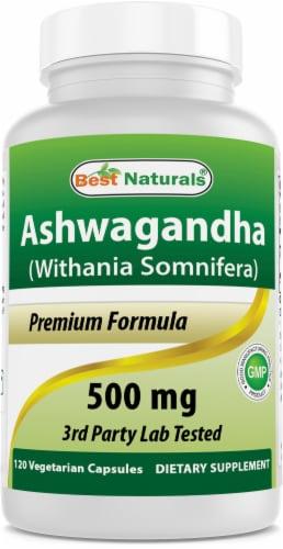 Best Naturals Ashwagandha 500 mg 120 Vegetarian Capsules Perspective: front