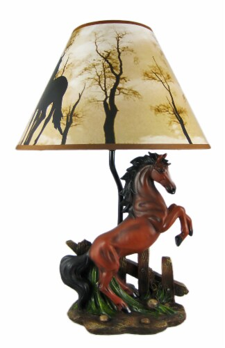 Brown Stallion Horse Table Lamp W/ Nature Print Shade Perspective: front