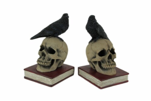 Evil Omen Raven On Skull Perch Decorative Bookend Set Perspective: front